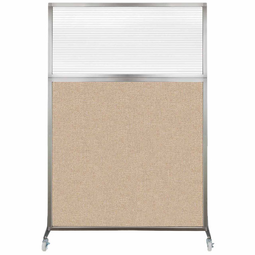 Hush Screen Portable Partition 4' x 6' Beige Fabric Clear Fluted Window With Wheels