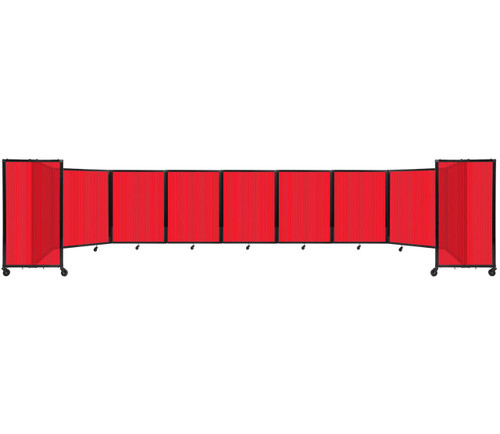 Room Divider 360 Folding Portable Partition 25' x 4' Red Fluted Polycarbonate