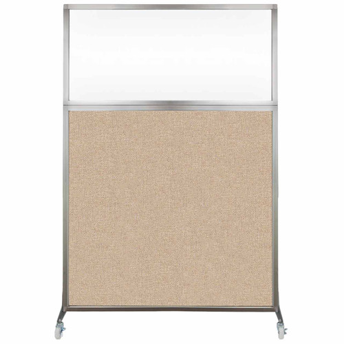 Hush Screen Portable Partition 4' x 6' Beige Fabric Clear Window With Wheels