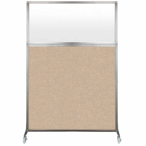 Hush Screen Portable Partition 4' x 6' Beige Fabric Frosted Window With Wheels
