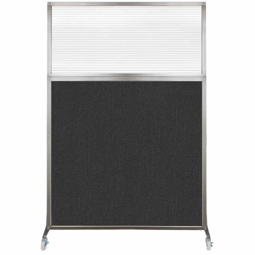 Hush Screen Portable Partition 4' x 6' Black Fabric Clear Fluted Window With Wheels