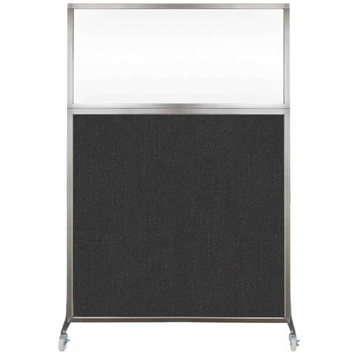 Hush Screen Portable Partition 4' x 6' Black Fabric Clear Window With Wheels