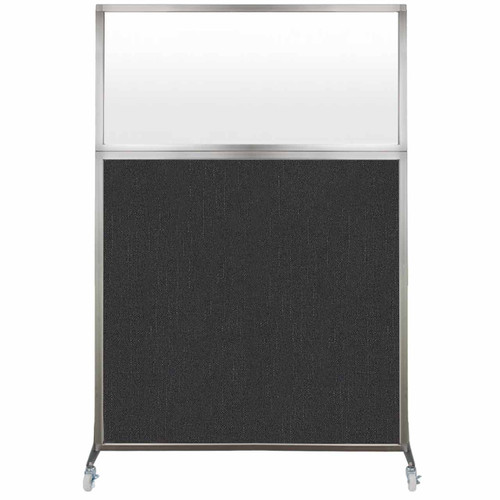 Hush Screen Portable Partition 4' x 6' Black Fabric Frosted Window With Wheels