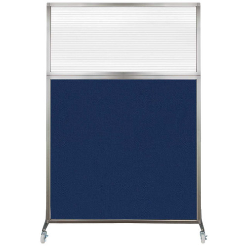 Hush Screen Portable Partition 4' x 6' Navy Blue Fabric Clear Fluted Window With Wheels