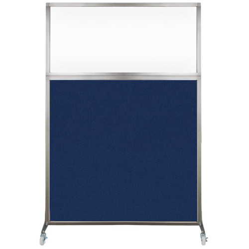 Hush Screen Portable Partition 4' x 6' Navy Blue Fabric Clear Window With Wheels