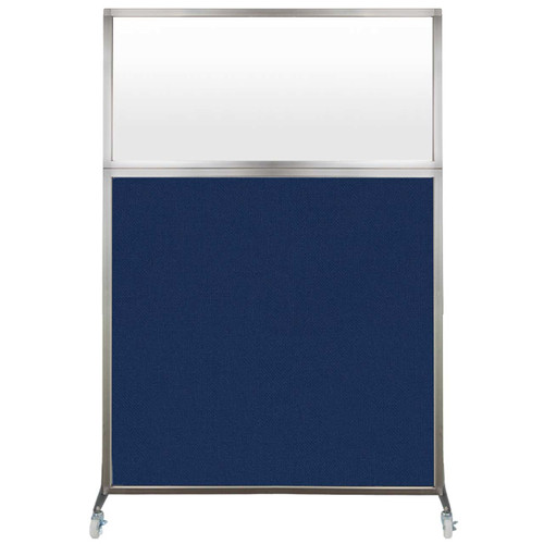 Hush Screen Portable Partition 4' x 6' Navy Blue Fabric Frosted Window With Wheels