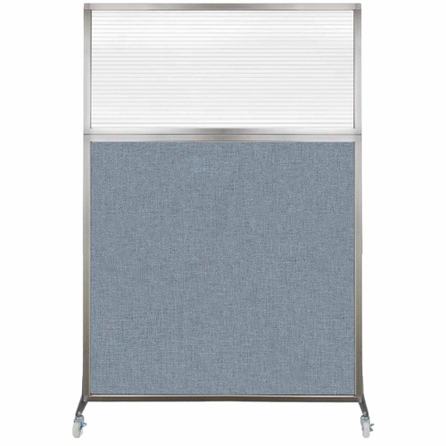 Hush Screen Portable Partition 4' x 6' Powder Blue Fabric Clear Fluted Window With Wheels