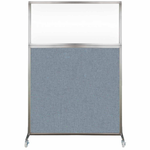 Hush Screen Portable Partition 4' x 6' Powder Blue Fabric Clear Window With Wheels