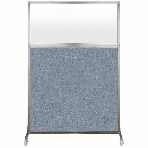 Hush Screen Portable Partition 4' x 6' Powder Blue Fabric Frosted Window With Wheels