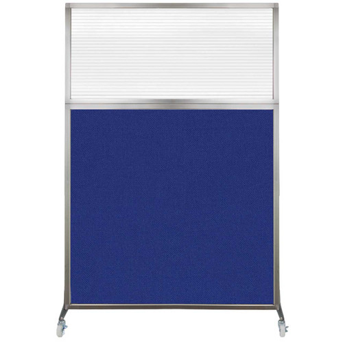 Hush Screen Portable Partition 4' x 6' Royal Blue Fabric Clear Fluted Window With Wheels