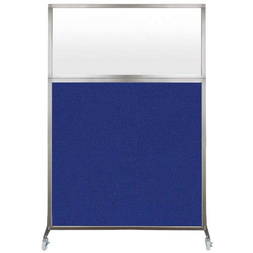 Hush Screen Portable Partition 4' x 6' Royal Blue Fabric Frosted Window With Wheels