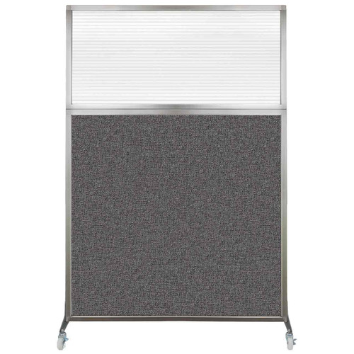Hush Screen Portable Partition 4' x 6' Charcoal Gray Fabric Clear Fluted Window With Wheels
