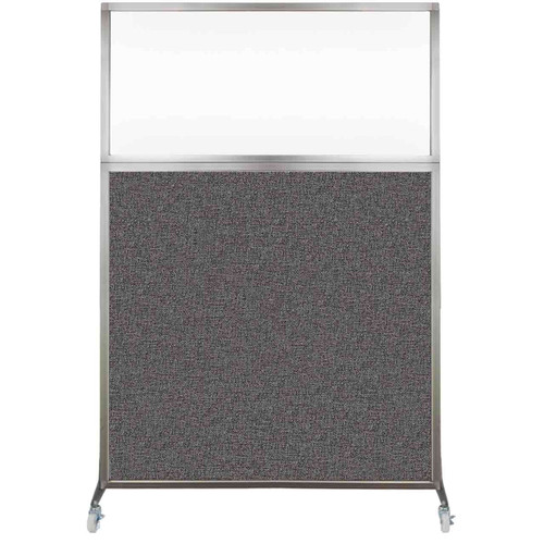 Hush Screen Portable Partition 4' x 6' Charcoal Gray Fabric Clear Window With Wheels