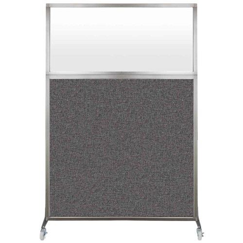 Hush Screen Portable Partition 4' x 6' Charcoal Gray Fabric Frosted Window With Wheels