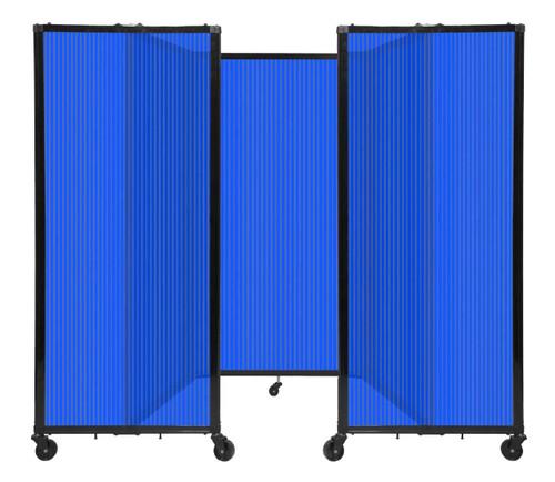 "Room Divider 360 Folding Portable Partition 8'6"" x 5' Blue Fluted Polycarbonate"