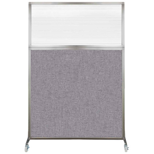 Hush Screen Portable Partition 4' x 6' Cloud Gray Fabric Clear Fluted Window With Wheels