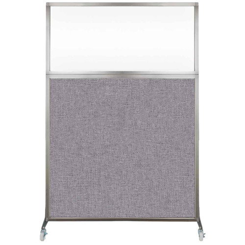 Hush Screen Portable Partition 4' x 6' Cloud Gray Fabric Clear Window With Wheels