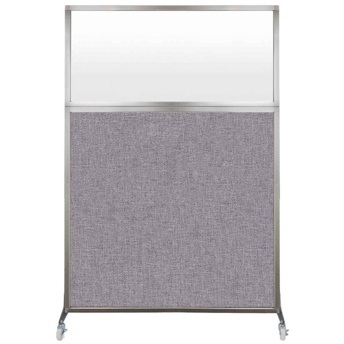Hush Screen Portable Partition 4' x 6' Cloud Gray Fabric Frosted Window With Wheels