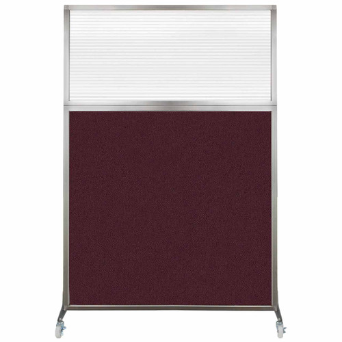 Hush Screen Portable Partition 4' x 6' Cranberry Fabric Clear Fluted Window With Wheels