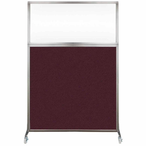 Hush Screen Portable Partition 4' x 6' Cranberry Fabric Clear Window With Wheels
