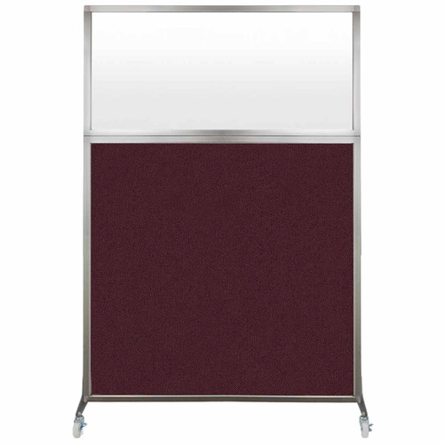 Hush Screen Portable Partition 4' x 6' Cranberry Fabric Frosted Window With Wheels