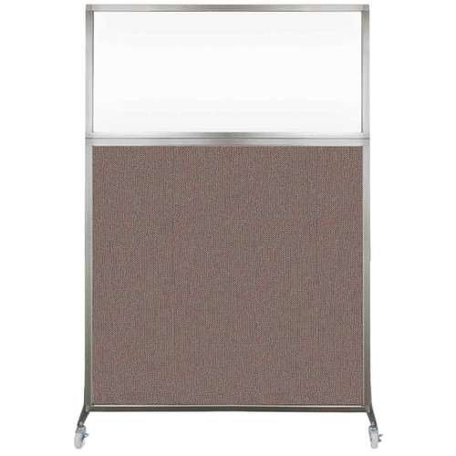 Hush Screen Portable Partition 4' x 6' Latte Fabric Clear Window With Wheels