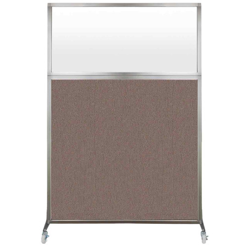 Hush Screen Portable Partition 4' x 6' Latte Fabric Frosted Window With Wheels
