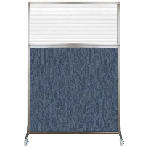 Hush Screen Portable Partition 4' x 6' Ocean Fabric Clear Fluted Window With Wheels