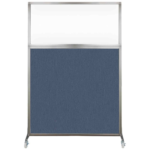 Hush Screen Portable Partition 4' x 6' Ocean Fabric Clear Window With Wheels