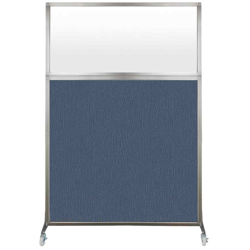 Hush Screen Portable Partition 4' x 6' Ocean Fabric Frosted Window With Wheels