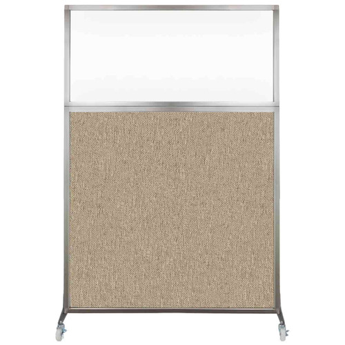 Hush Screen Portable Partition 4' x 6' Rye Fabric Clear Window With Wheels