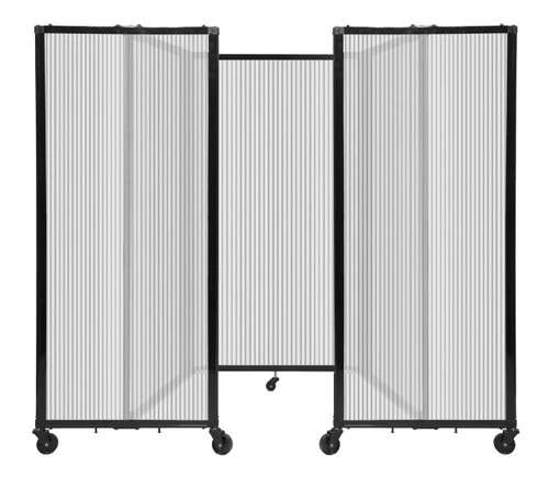 """Room Divider 360 Folding Portable Partition 8'6"""" x 5' Clear Fluted Polycarbonate"""