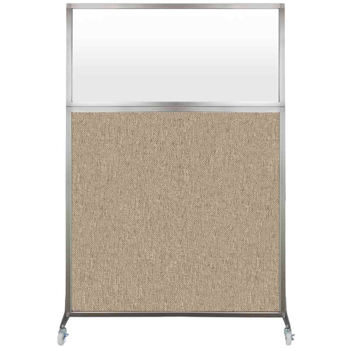 Hush Screen Portable Partition 4' x 6' Rye Fabric Frosted Window With Wheels