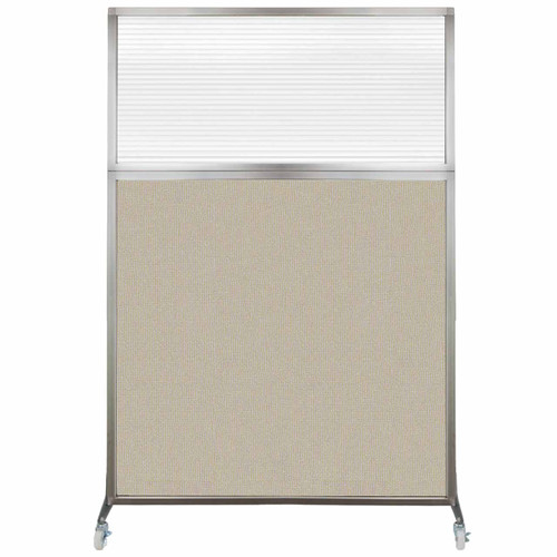 Hush Screen Portable Partition 4' x 6' Sand Fabric Clear Fluted Window With Wheels