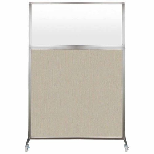 Hush Screen Portable Partition 4' x 6' Sand Fabric Frosted Window With Wheels