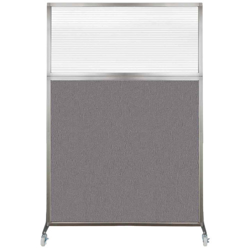 Hush Screen Portable Partition 4' x 6' Slate Fabric Clear Fluted Window With Wheels