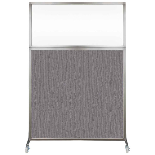 Hush Screen Portable Partition 4' x 6' Slate Fabric Clear Window With Wheels
