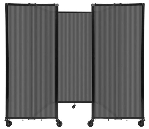 """Room Divider 360 Folding Portable Partition 8'6"""" x 5' Dark Gray Fluted Polycarbonate"""