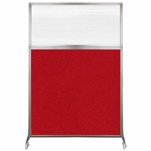 Hush Screen Portable Partition 4' x 6' Red Fabric Clear Fluted Window With Wheels