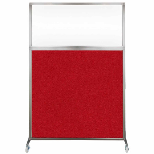 Hush Screen Portable Partition 4' x 6' Red Fabric Clear Window With Wheels