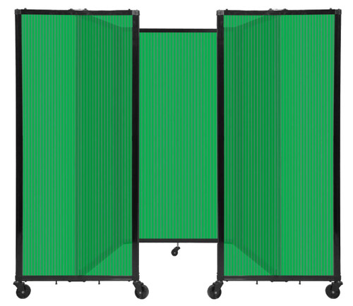"""Room Divider 360 Folding Portable Partition 8'6"""" x 5' Green Fluted Polycarbonate"""