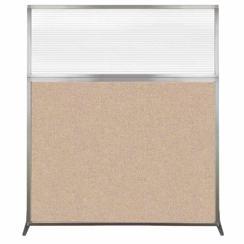 Hush Screen Portable Partition 5' x 6' Beige Fabric Clear Fluted Window Without Wheels