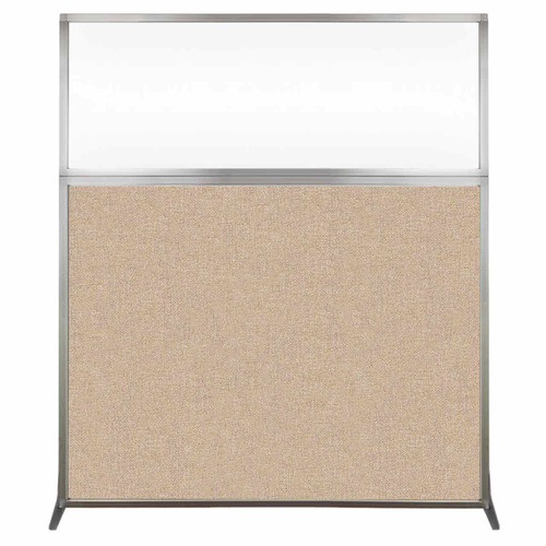 Hush Screen Portable Partition 5' x 6' Beige Fabric Clear Window Without Wheels