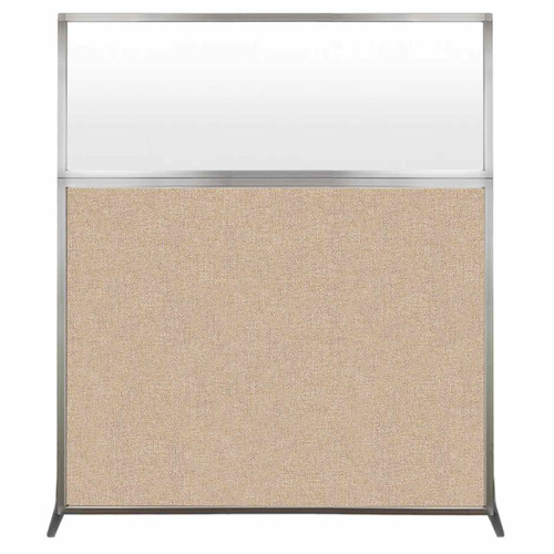 Hush Screen Portable Partition 5' x 6' Beige Fabric Frosted Window Without Wheels