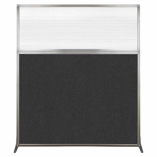 Hush Screen Portable Partition 5' x 6' Black Fabric Clear Fluted Window Without Wheels