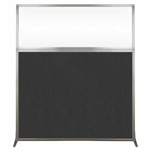 Hush Screen Portable Partition 5' x 6' Black Fabric Clear Window Without Wheels