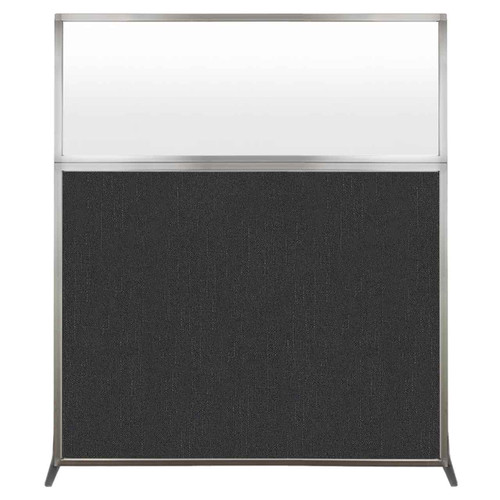 Hush Screen Portable Partition 5' x 6' Black Fabric Frosted Window Without Wheels
