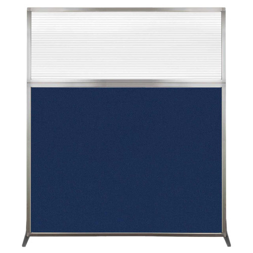 Hush Screen Portable Partition 5' x 6' Navy Blue Fabric Clear Fluted Window Without Wheels