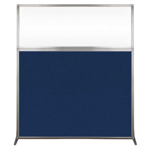 Hush Screen Portable Partition 5' x 6' Navy Blue Fabric Clear Window Without Wheels