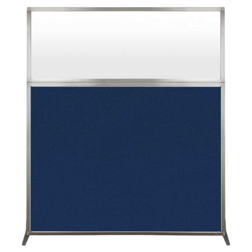 Hush Screen Portable Partition 5' x 6' Navy Blue Fabric Frosted Window Without Wheels